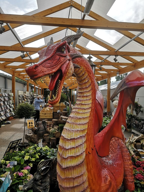 A notably fierce and reassuringly expensive dragon inhabits the Blue Diamond garden centre in Cardiff